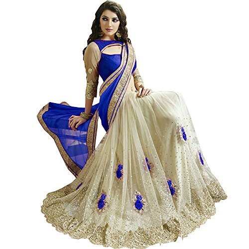 Culture Fab Women\'s Georgette and Net Embroidered Saree with Blouse Piece cf3114_Blue and White_Free Size