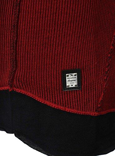 Redbridge Herren Pullover im Double Look mit Used Effekt und Löcher Bordeauxrot