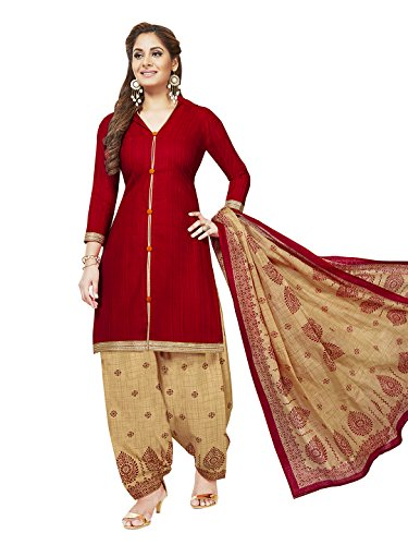 Jevi Prints Women's Unstitched Synthetic Crepe Red & Beige Stripe Printed Salwar...