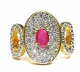 jewelshingar Bijoux plaqué or blanc diamant américain Bague pour femme (23290-ring-ruby)