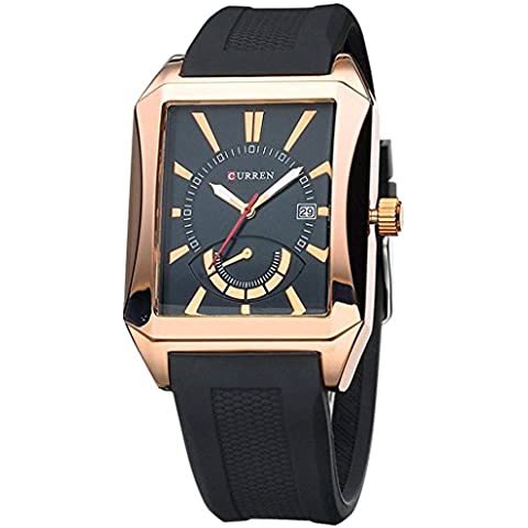 downj da uomo Sport Rettangolo Forma Cinturino in gomma calendario orologio da polso analogico al quarzo nero oro