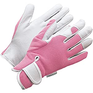 Ladies leather gardening gloves feminine slim fit work for Gardening gloves amazon