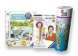 Ravensburger tiptoi  Buch Set | Entdecke Den Zoo + tiptoi  Stift mit Player + Kinder Weltkarte - Länder, Tiere, Kontinente