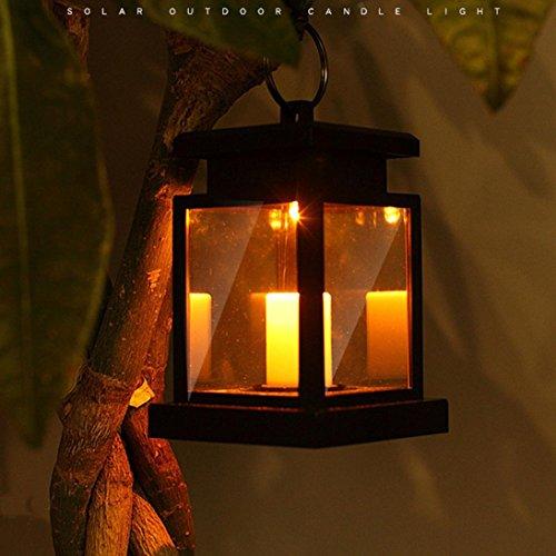 gaddrt Klassisches Solar-LED-Kerzen-Licht im Freien hängenden rauchlose Laternen-Lampe warmes Weiß - Freien Hängenden Laternen Im