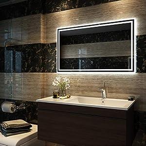 Duschdeluxe Badspiegel Lichtspiegel 100 x 60 cm LED Spiegel Wandspiegel nergieeffizienzklasse A++ mit Beleuchtung kaltweiß Lichtspiegel mit Touchschalter