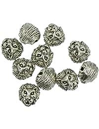 Lot de 10 Tête de Lion en Métal Espaceur Breloque Perle pour Bracelet Collier Vintage