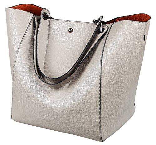 SQLP Taschen Damen Leder grau 2018 Elegant Große Handtasche Europäische Stil Schultertaschen Umhängetasche Shopper Tasche Henkeltasche Beuteltasche Weich Damentasche