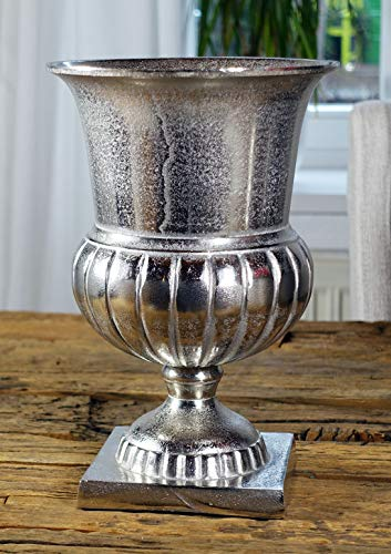 Michael Noll Vase Blumenvase Gefäß Pokalvase Dekovase Aluminium Silber S 29 cm (Silber Vasen)