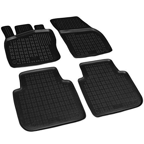 AME Auto-Gummimatten Fußmatten in schwarz mit Schmutzrand, Geruch-vermindert und passgenau mit Befestigungskit 200213RG