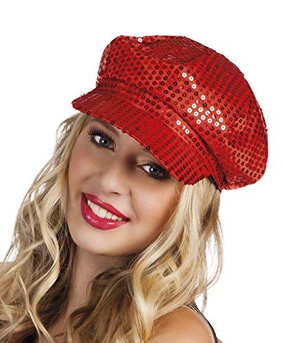 Faschingsfete Karnevalsaccessoire- Kappe, Mütze mit Pailletten, Rot