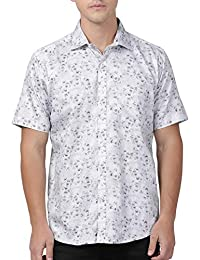Zeal Light Grey Coloured Floral Printed Cotton Regular Fit Half Sleeve Shirt for Men