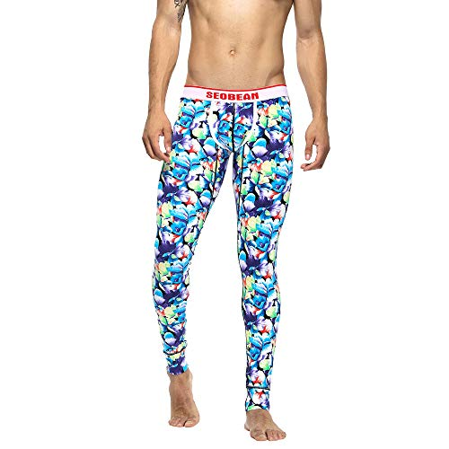 (Geili Unterhose Herren Lang Gedruckt Leggings Slim Fit Kompression Unterwäsche Strumpfhose Männer Atmungsaktive Baumwolle Stretch Gym Fitness Trainingshose Sporthose Yogahosen)