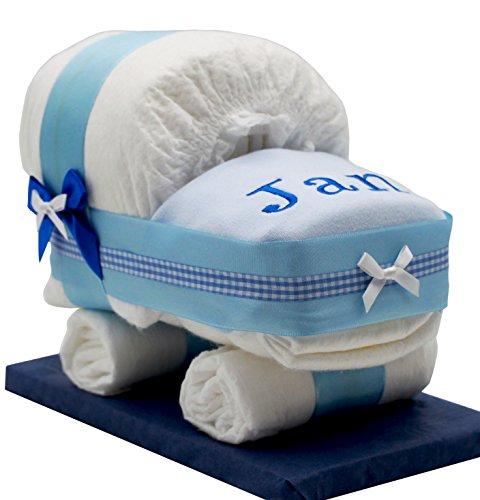 Windeltorte/Windelwagen blau für Jungen – mit besticktem Lätzchen/Das perfekte Geschenk zur Geburt oder Taufe