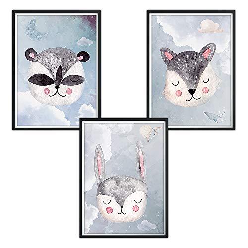 luvel® - (P26) 3er-Set DINA4 Poster fürs Kinderzimmer und den Bilderrahmen, Babyzimmer Bilder, Mädchen Junge Deko, Dekoration Kinderzimmer