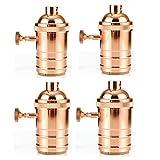 GreenSun LED Lighting 4er Edison E27 Kupfer Lampenfassung Rosa-Golden Deckenfassung Fassung Socket Lampenfuß Retro Vintage Halter für Hängeleuchte Deckenleuchte Adapter Beleuchtung Sockel