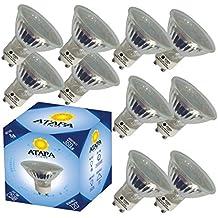 ATAPA 10x halógenos LED 4W 360 lumen 35W equivalente 120° ángulo de haz, luz cálida 3000 Kelvin, GU10 foco/spotlight iluminación empotrable para duchas, cuartos de baño, cocinas, salones, porches