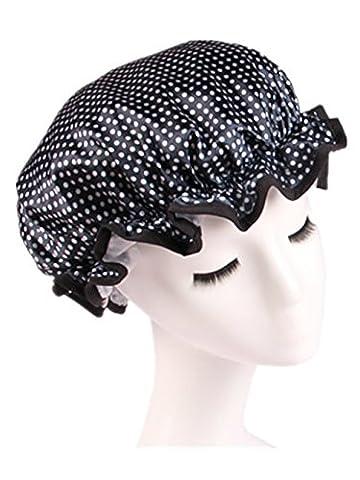 Moolecole Mode Femmes Polka Dots Double Layer Bonnet De Douche Elastic Band Shower Cap Spa Bonnet De Bain Bleu Foncé