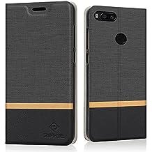 Xiaomi Mi A1 / Xiaomi 5X Custodia, Cover Xiaomi Mi A1 / Xiaomi Mi 5X, RIFFUE Copertura Protettiva Sottile del Modello Retrò in Denim a Portafoglio Liscio in Pellicola PU Per Xiaomi Mi A1 / Xiaomi Mi 5X - Nero