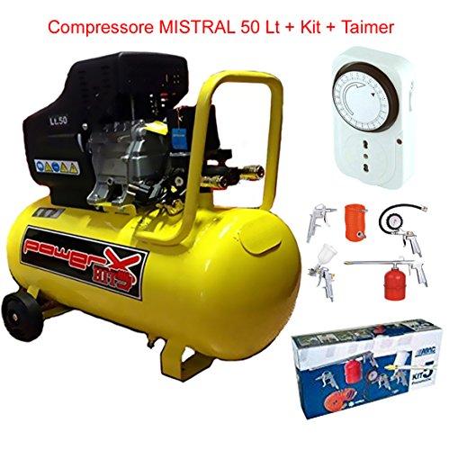 COMPRESSORE POWERPLUS-MISTRAL- LT.50-8 BAR 2 HP AD. OLIO CON KIT 5 PEZZIABAC...