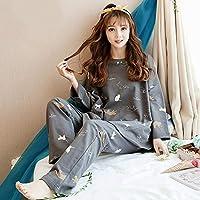 YTNGA Pijamas De Mujer Otoño Invierno Pijamas Mujeres Set Cuello Redondo Pijama Femme Coton Manga Completa Pijamas Calientes Pijamas Femeninos Tallas Grandes Homewear, Pijama Gris para Mujeres, M