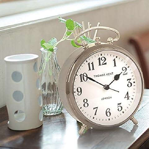 Puffin Alarm Clock Gunmetal Grey, Silent Mantel Clock. 15cm