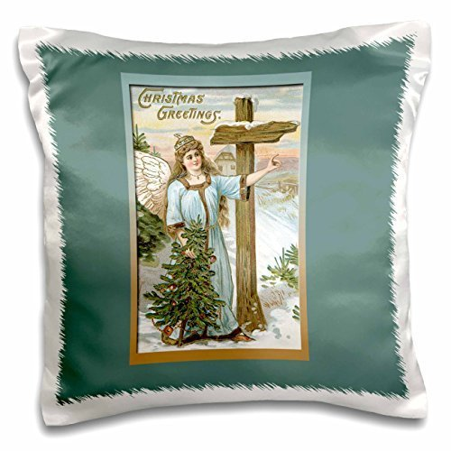 BLN Vintage Christmas Designs - Christmas Angel In Blue Holding a Small Christmas Tree Vintage Card - 16x16 inch Pillow Case