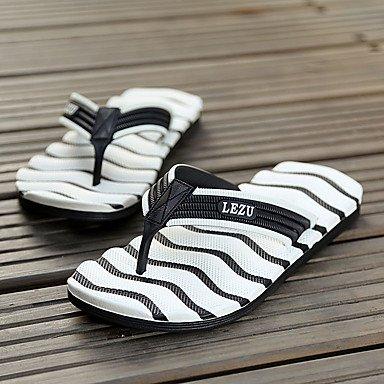 Slippers & amp da uomo;Comfort PU Estate casuale tallone piano Arancione Verde Blu Nero / sandali bianchi sandali US10 / EU43 / UK9 / CN44