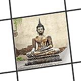 creatisto Fliesenfolie selbstklebend 15x15 cm 1x1 Design Relaxing Buddha (Erholung) Klebefolie Küche Bad