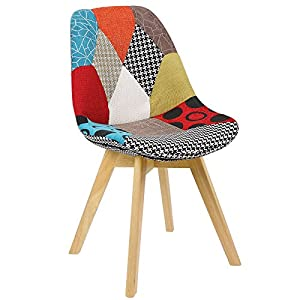 51noiQu9EEL. SS300  - WOLTU® BH29mf-1 1 x Dining Chair Retro Kitchen Chair Patchwork Linen Dining Chair, Multicolored
