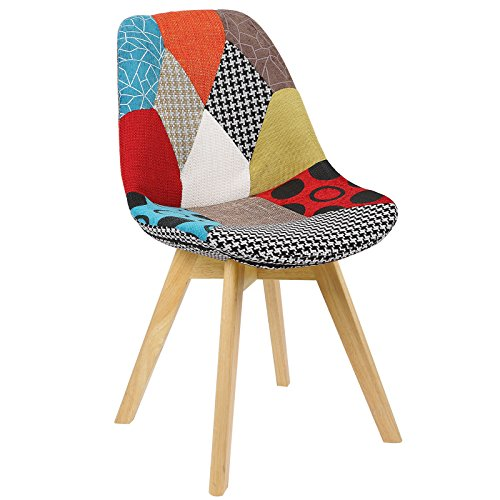 51noiQu9EEL. SS500  - WOLTU® BH29mf-1 1 x Dining Chair Retro Kitchen Chair Patchwork Linen Dining Chair, Multicolored