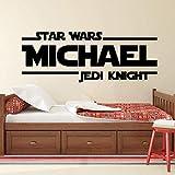 Star Wars Jedi Knight Decal Citation Vinyle Wall Sticker Personnalisé Nom Décor Ados Garçons Chambre Déco Art Mens Cadeau-57X21Cm