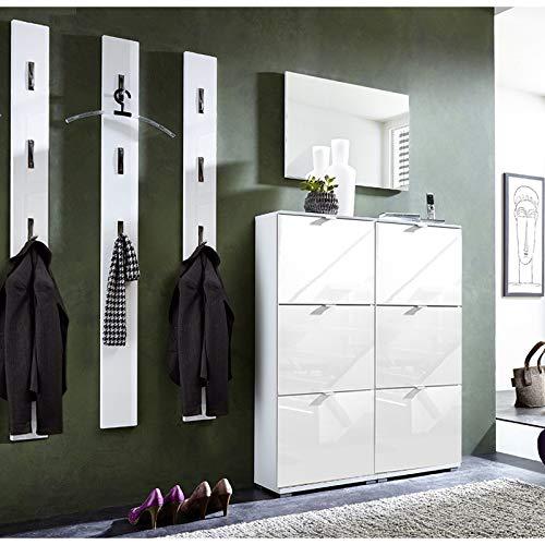 Garderoben Set Hochglanz weiß Schuhschrank Spiegel Wandpaneele Flurgarderobe Diele Flurmöbel B x H x T ca. 196 x 199 x 30cm