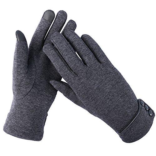 Aibrou Touchscreen Handschuhe Damen Winterhandschuhe Fahrradschuhe Frauen Handschuhe Winter Warm Handschuhe mit Fleecefutter Grau
