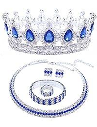 Santfe Set Joyas Corona de Boda De Novia De Color Blanco Cristalino Tiara Del Rhinestone Diadema Diadema Tocado cinta+collar + pendientes