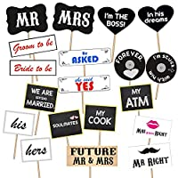 Party Propz Bridal Shower Photo Booth Props 19Pcs For Wedding, Bachelorette Or Bride To Be Parties
