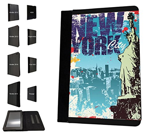 003326 - NYC New York Statue of Liberty illustration Design Amazon Kindle Paperwhite 6'' 2014/2016 TPU Leder Brieftasche Hülle Flip Cover Book Wallet Stand halter Case