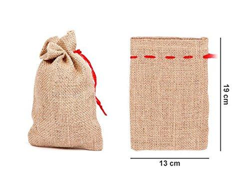 PROMOTION: Remise sur quantité: Sac en toile de jute avec ruban rouge, loisirs créatifs, Petit sac en toile de jute pour vos décorations de Noël ou Préparer un calendrier de l'Avent, choisir:Lot de 12 sacs: 19 x 13 cm JS-02