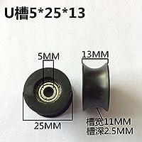 Winwill® 4Pcs 5 * 25 * 13mm Negro POM recubierto rueda del neumático rodamiento de bolas para muebles polea