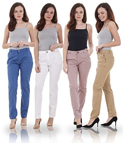 Ex Quality Brand Ladies Slim Leg Womens Chino Cotton Pants Stretch Regular Fit Trousers