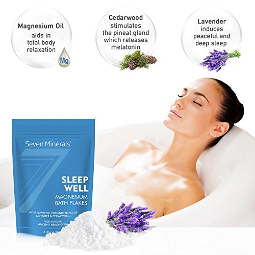 New SLEEP WELL Magnesium Chloride Flakes 1.36 Kg – Absorbs Better than Epsom Salt – Unique & Natural Full Bath Soak Formula for Insomnia Relief & Healthy Sleep – With USDA Organic Cedarwood & Lavender Oils