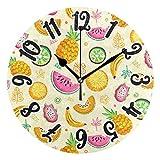 dfegyfr Uhr Sommer Obst Ananas Zitrone Runde Wanduhr Silent Non Ticking Dekorative Wanduhr...