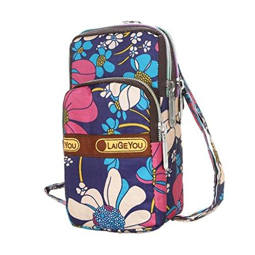 Longra Donna Stampa casuale, borsa a mano, tacche obliqua, sacco a collo appeso, borsa nera Multicolore_G