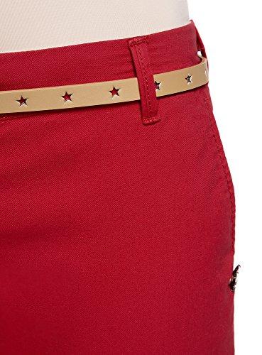 oodji Ultra Damen Chinohose mit Gürtel, Rot, DE 38 / EU 40 / M