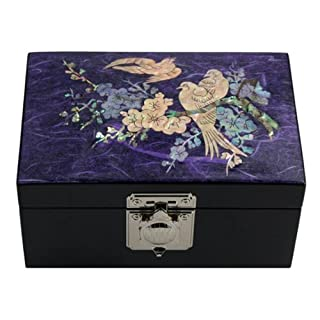 Mother of Pearl Bird and Flower Design Purple Wooden Jewelry Mirror Trinket Keepsake Treasure Lacquer Box Case Chest Organizer by Antique Alive Jewelry Box