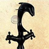Tougmoo de salle de bain robinet, 10,2cm Centerset robinet en forme de dauphin. Un trou double poignée robinet. Clawfoot Poignée Mitigeur de lavabo robinet d'eau Yn-011