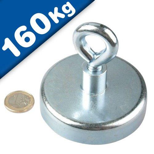 Ösenmagnet Neodym Magnet mit Öse - Ø 75mm - Neodym (NdFeB) Zink - Haftkraft 160 kg - starke Magnete (Magnetösen) Supermagnete mit extremer Haftkraft für Industrie und Zuhause