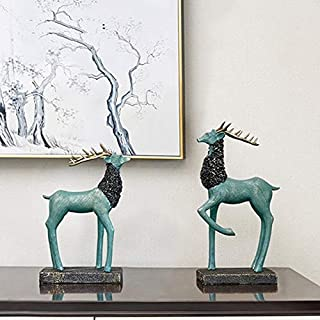 ZEQUAN Creative Decoration Chinese Decoration Home Living Room TV Cabinet Wine Cabinet Wine Rack Decoration Moving New Home Gift Deer Decoration Art Decorative ornaments ( Color : A )