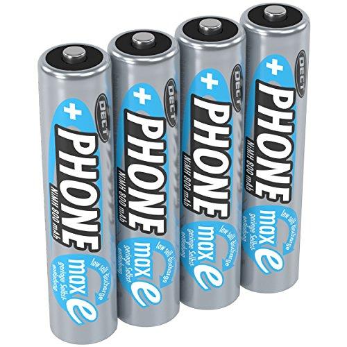 ANSMANN Akku AAA Micro 800 mAh 1,2V NiMH für Schnurlostelefon 4 Stück - Wiederaufladbare Batterien mit geringer Selbstentladung maxE - Akkus ideal für Haustelefon schnurlos - Rechargeable Battery