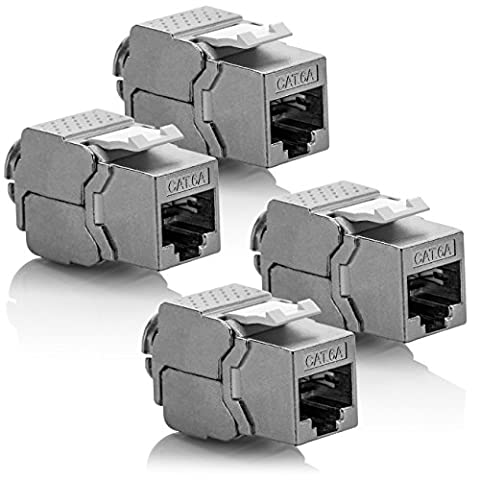 deleyCON 4x Keystone Modul CAT 6a Jack / vollgeschirmt STP / RJ45 Buchse / werkzeugfrei dank Snap-In Montage / CAT Rohkabel / 500Mhz / 10GBit/s