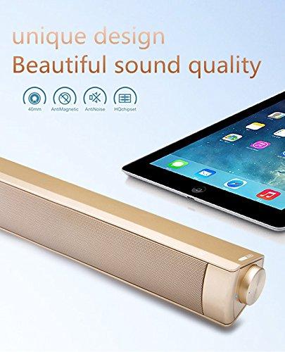 Bluetooth-Sound-Bar TV-Lautsprecher Verdrahtete und Drahtlose Bluetooth-Surround-Sound-Bar mit Subwoofer Heimkino-Lautsprecher Audio-Stereo-Unterstützung TF-Karte Musik-Player Oder TV,Gold